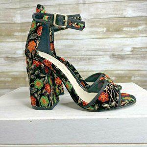 Fergie Courtney Black Embroidered Block Heel Sanda